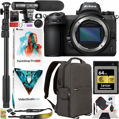 Nikon Z7 Mirrorless Full Frame Digital Camera Body + Microphone + Backpack 64GB Bundle