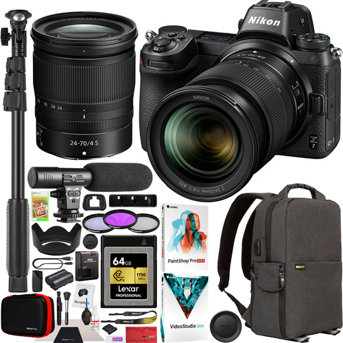 Nikon Z7 Mirrorless Full Frame Camera + 24-70mm F4 Lens Kit Microphone Backpack Bundle