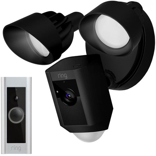 Ring Outdoor Floodlight Camera, Black Certified Refurbished w/Video Doorbell Pro