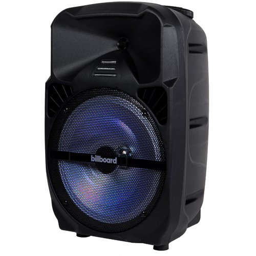 Billboard 12` Rechargeable Bluetooth Speaker for Parties w/ Lighting, AUX, USB, FM Radio