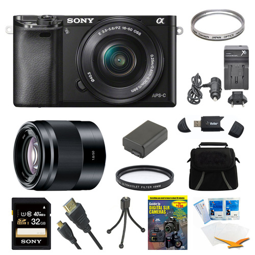 Sony Alpha a6000 Black Camera with 16-50mm Lens, 50mm Lens, and 32GB Card Bundle