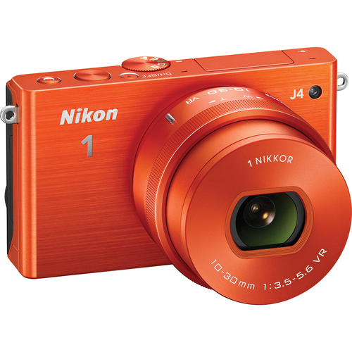 Nikon 1 J4 Mirrorless 18.4MP Digital Camera w/ 10-30mm Lens Orange - Renewed