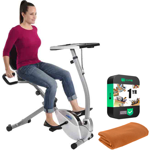 Stamina 2-in-1 Recumbent Exercise Bike Workstation and Standing Desk w/ Warranty Bundle