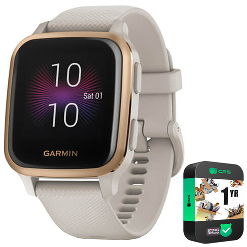 Garmin Venu SQ Music Edition, Light Sand w/ Rose Gold Bezel +Extended Warranty