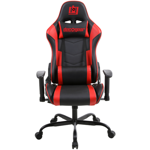 Deco Gear Ergonomic Foam Gaming Chair with Adjustable Head and Lumbar Support, Red