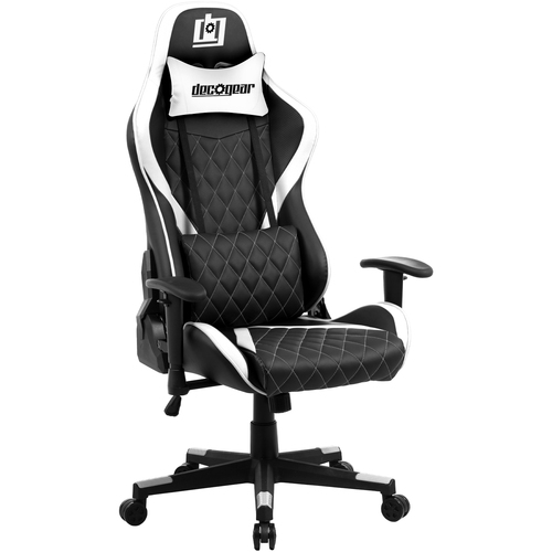 Ergonomic Foam Gaming Chair with Adjustable Head and Lumbar Support, White