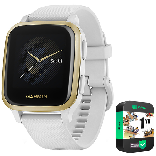 Garmin Venu Sq, Light Gold Aluminum Bezel with White Case w/ Extended Warranty