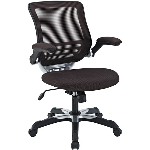Modway EEI-594-BRN Edge Office Desk Chair With Flip-Up Arms, Brown Mesh