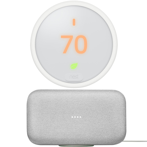 Google Nest E T4000ES Programmable Smart Thermostat with Google Home Max (White)