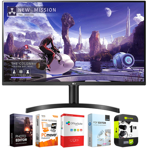 LG 32` QHD 1440p IPS Monitor w/ HDR10, AMD FreeSync, Dual HDMI + Warranty Bundle