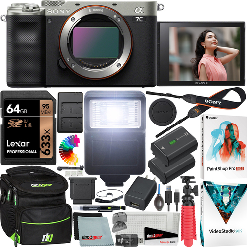Sony a7C Mirrorless Full Frame Camera Body ILCE7C/S Silver 64GB Accessory Kit Bundle