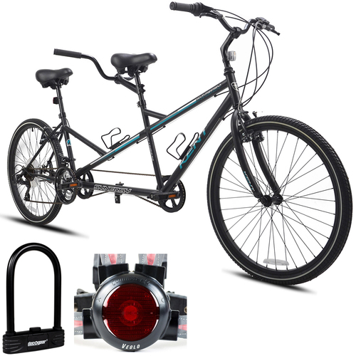 Kent 20` Synergy Tandem Black Unisex Bicycle with Bike Lock and Light System