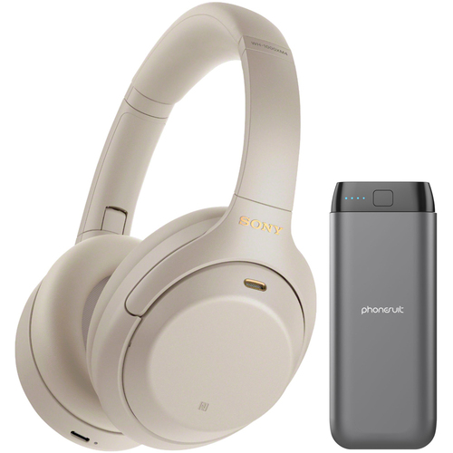Sony WH-1000XM4 Noise Canceling Overhead Headphones + Power Bank