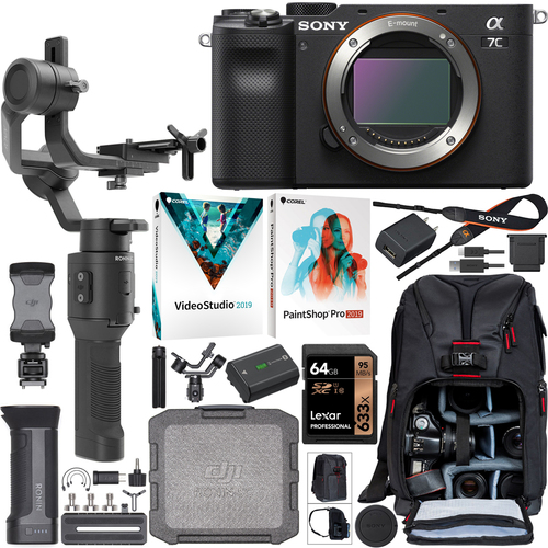 Sony a7C Mirrorless Full Frame Camera Body + DJI Ronin-SC Gimbal Filmmaker's Kit