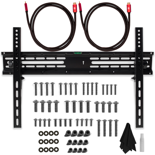 Deco Mount 37` - 70` TV Wall Mount Bracket Bundle w/ 2 HDMI Cables, Spray Bottle and Wipe