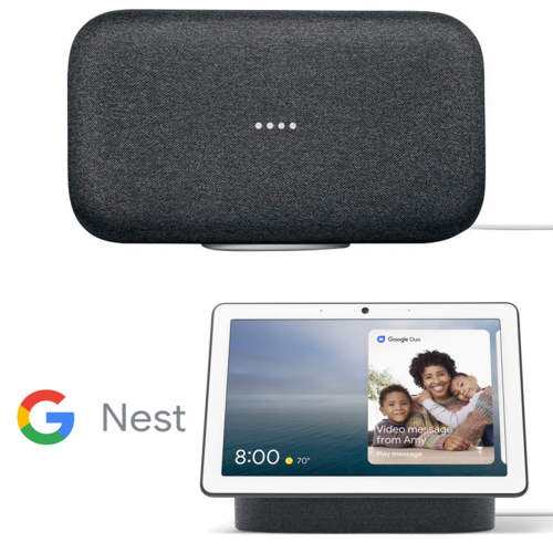 Google Home Max Wireless Streaming Audio Smart Speaker (Charcoal) + Google Nest Hub Max with Built-in Google Assistant (Charcoal) (GA00639-US)