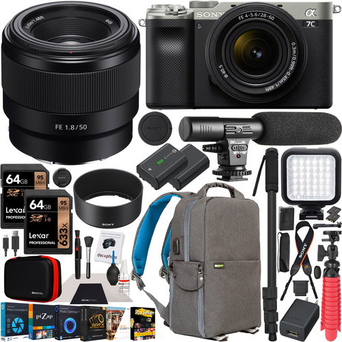 Sony a7C Mirrorless Full Frame Camera Silver 2 Lens Kit 28-60mm + 50mm F1.8 Bundle