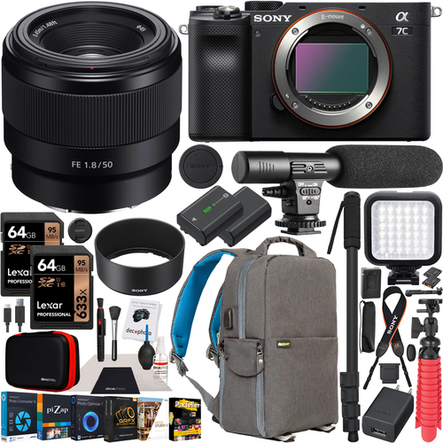 Sony a7C Mirrorless Full Frame Camera Body + 50mm F1.8 Lens SEL50F18F Kit Bundle