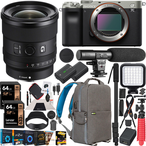 Sony a7C Mirrorless Full Frame Camera Body Silver 20mm F1.8 Lens SEL20F18G Kit Bundle