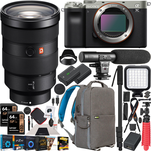 Sony a7C Mirrorless Full Frame Camera Silver 24-70mm F2.8GM Lens SEL2470GM Kit Bundle