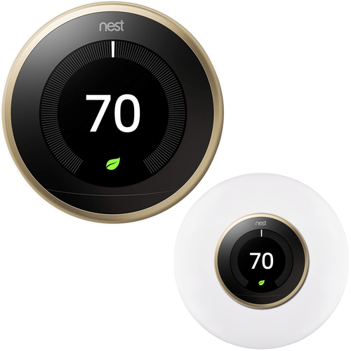Google Nest Learning Smart Thermostat 3rd Gen Brass T3032US + Home Wall Mount Kit