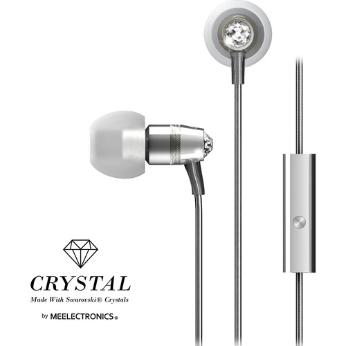 MEElectronics Crystal In-Ear Headphones with Microphone Made with Swarovski Crystals - Silver