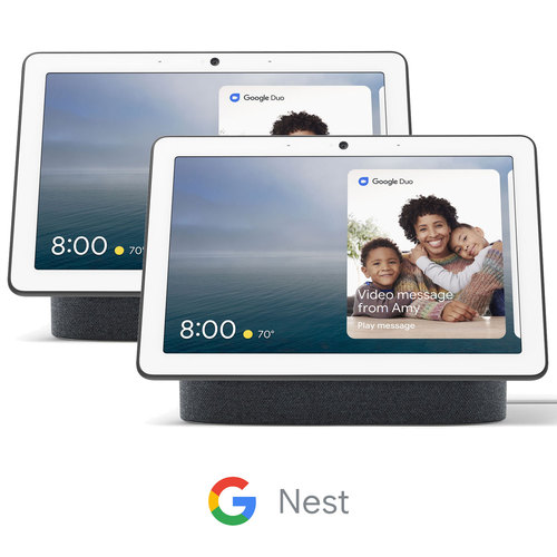 Google Nest Hub Max with Built-in Google Assistant - Charcoal (GA00639-US) 2-Pack Bundle