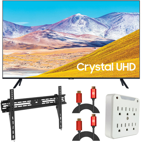 Samsung UN55TU8000 55` 4K Ultra HD Smart LED TV (2020) (Renewed) + Wall Mount Kit