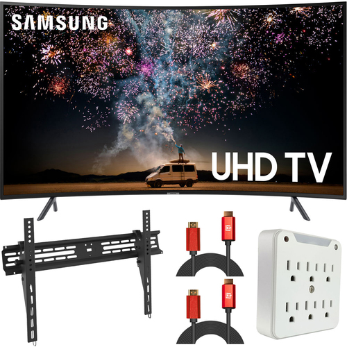 Samsung 65` RU7300 HDR 4K UHD Smart Curved LED TV (2019) (Renewed) + Wall Mount Kit