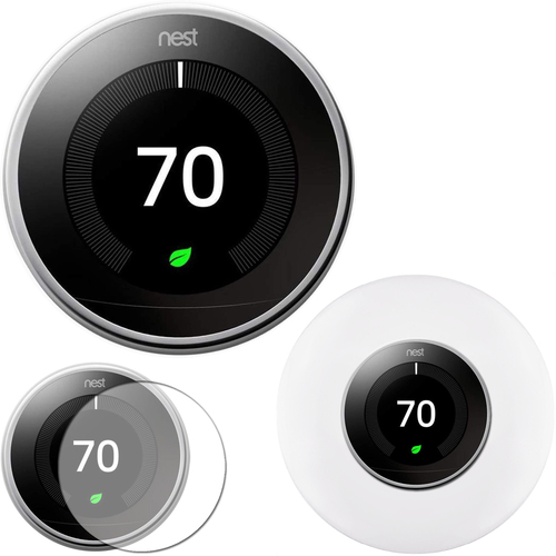 Google Nest Learning Smart Thermostat Polished Steel T3019US + Home Wall Mount + Cover Kit