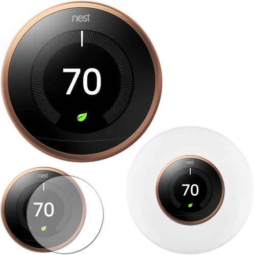 Google Nest Learning Smart Thermostat Copper T3021US 3rd Gen + Home Wall Mount + Cover Kit