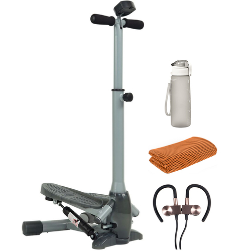 Sunny Health and Fitness Twist-In Stepper Step Machine + Fitness Bundle