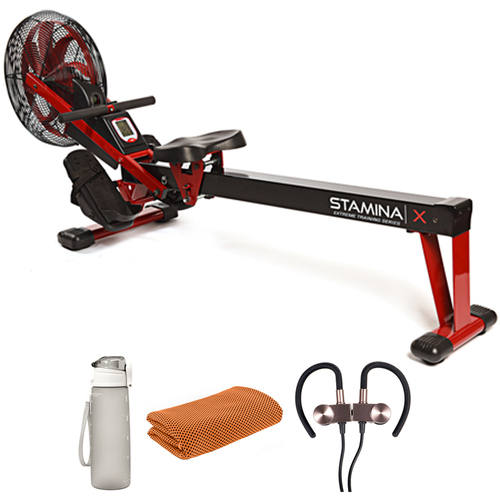 Stamina 35-1412 X Air Rower Red with Fitness Bundle