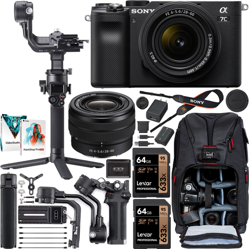 Sony a7C Mirrorless Camera Black + 28-60mm Lens + DJI RSC 2 Gimbal Filmmaker's Kit