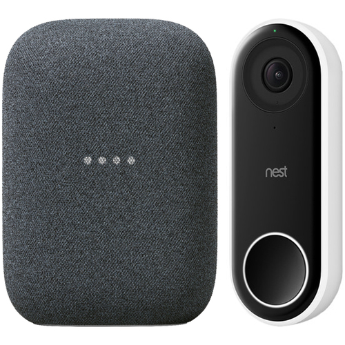 Google Nest Hello Smart Wi-Fi Video Doorbell NC5100US + Audio Smart Home Speaker GA01586-US