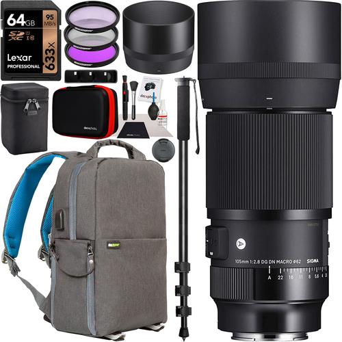 Sigma 105mm F2.8 Art DG DN Macro Lens Kit for Sony E-mount Mirrorless Cameras Bundle