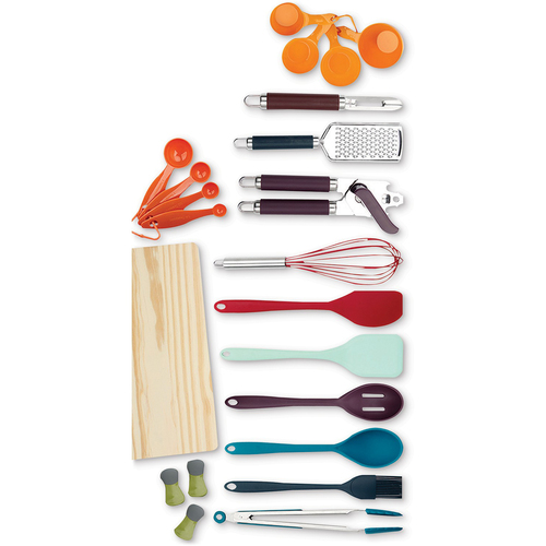 22 Piece Kitchen Gadget Set with Tongs, Whisk, Measuring Spoons, Cups, and More