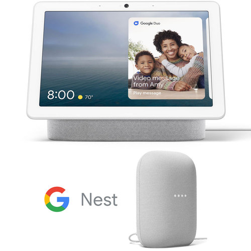 Google Nest Hub Max with Built-in Google Assistant - Chalk with Nest Smart Speaker Bundle