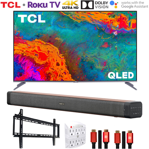 TCL 50` 5-Series 4K QLED Dolby Vision HDR Smart Roku TV w/ Deco Home Soundbar Bundle