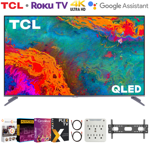 TCL 55` 5-Series 4K QLED Dolby Vision HDR Smart Roku TV + Movies Streaming Pack