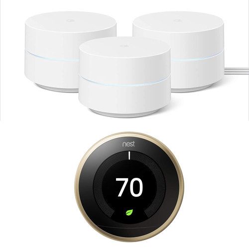 Google Wifi Network System Router AC1200 (3pk) w/ Learning Thermostat, Brass