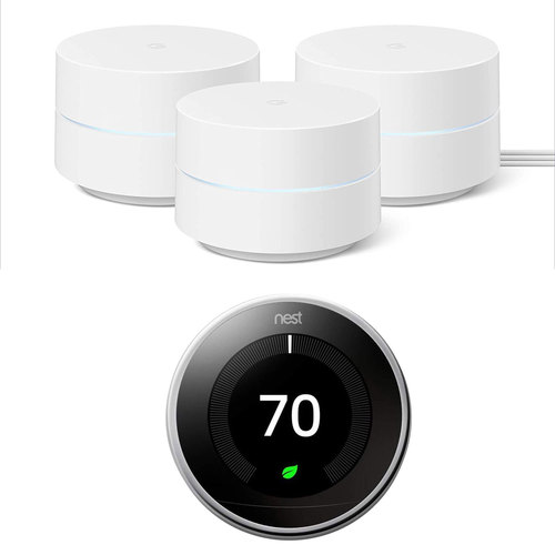 Google Wifi Network System Router AC1200 (3pk) w/ Learning Thermostat, Polished Steel