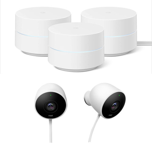 Google Wifi Mesh Network System Router AC1200 (3pk) w/ Outdoor Security Camera (2pk)