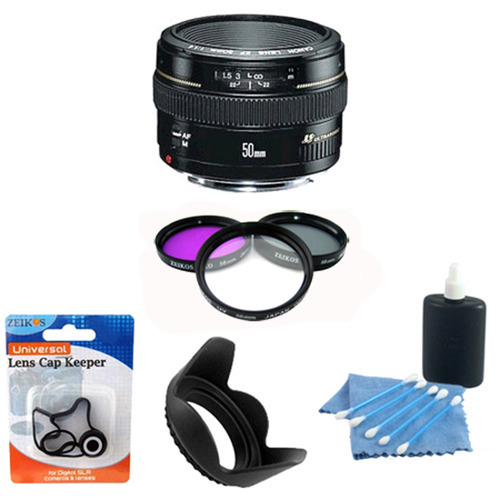 Canon EF 50mm F/1.4 USM Lens 2515A003 w/ Filter Kit, Hood & Cleaning Kit