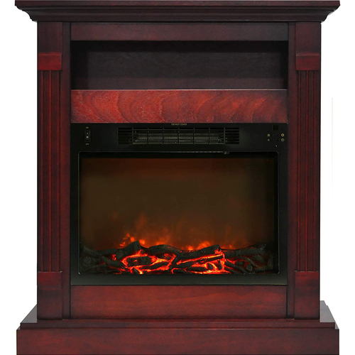 Cambridge 34` Log Insert and Cherry Mantel Electric Fireplace - CAMBR3437-1CHR