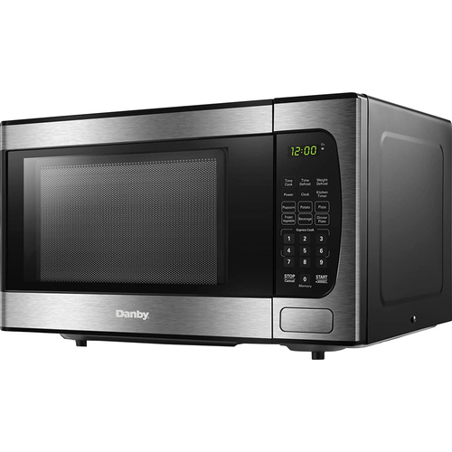 DANBY 0.9 Cu.Ft. CounterTop Microwave Stainless Steel in Black - DBMW0924BBS