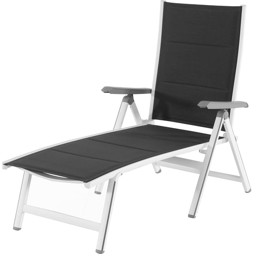 Mod Furniture Aluminum Sling Folding Chaise Lounge in White and Gray - EVERCHS-W-GRY