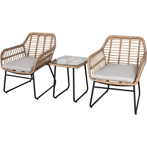 Mod Furniture 3-Piece Seating Set with 2 Rattan Wicker Chairs and Side Table - MIA3PC-GRY
