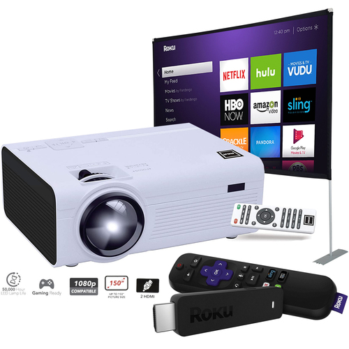 RCA LCD Home Theater Projector RPJ136 + 100` Screen + Roku Stick (Renewed) 3800XB