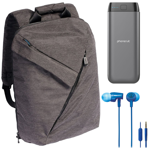 Quirky Power Trip Laptop Backpack with Charging Port + 20,000mAh Power Bank + Headphone